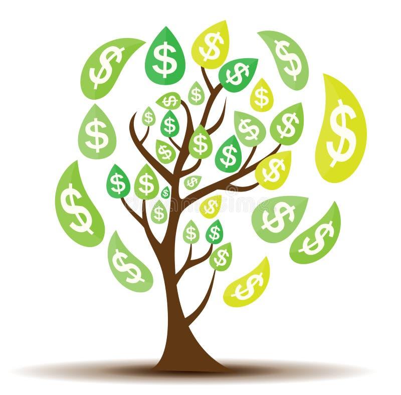 Gekleurde Geldboom, Afhankelijkheid van Financieel de Groei Vlak Concept vector illustratie