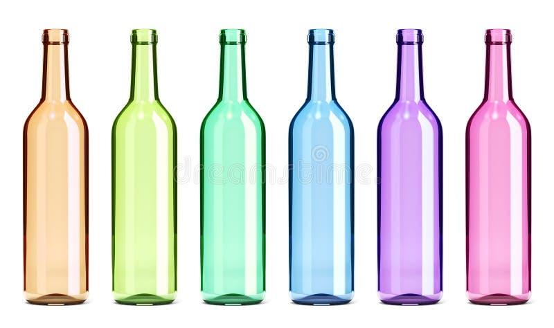 Gekleurde Geplaatste Glas Lege Flessen stock illustratie