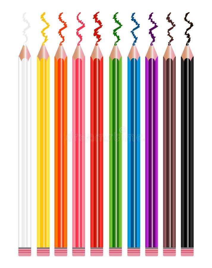 Gekleurde geplaatste potloden vector illustratie