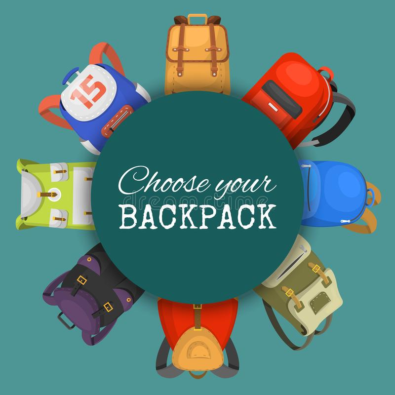 Gekleurde Geplaatste Schoolrugzakken Kies uw rugzakbanner, affiche Onderwijs en studie terug naar school, schooltasbagage vector illustratie