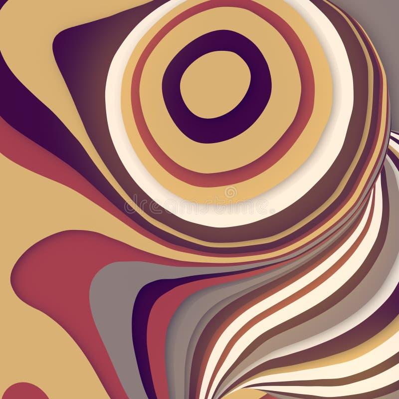 Gekleurde gesneden vorm De computer produceerde abstracte geometrische 3D teruggeeft illustratie stock illustratie