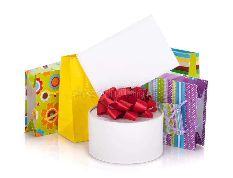 Gekleurde giftzakken, doos en groetkaart royalty-vrije stock foto