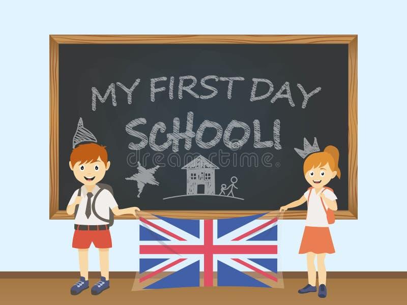 Gekleurde glimlachende kinderen, jongen en meisje, die een nationale Britse vlag achter een illustratie van de schoolraad houden  vector illustratie