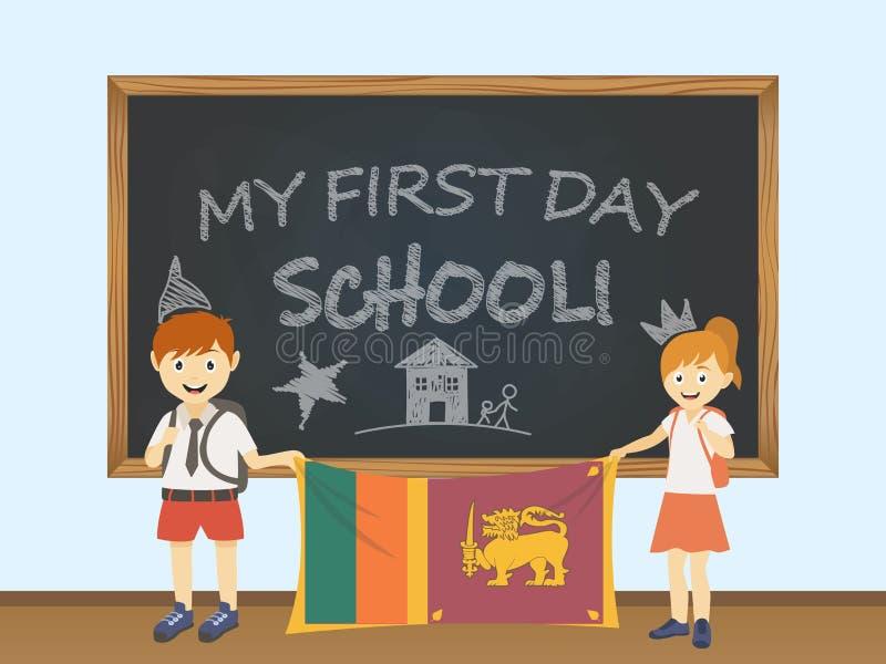 Gekleurde glimlachende kinderen, jongen en meisje, die een nationale Sri Lanka-vlag achter een illustratie van de schoolraad houd royalty-vrije illustratie