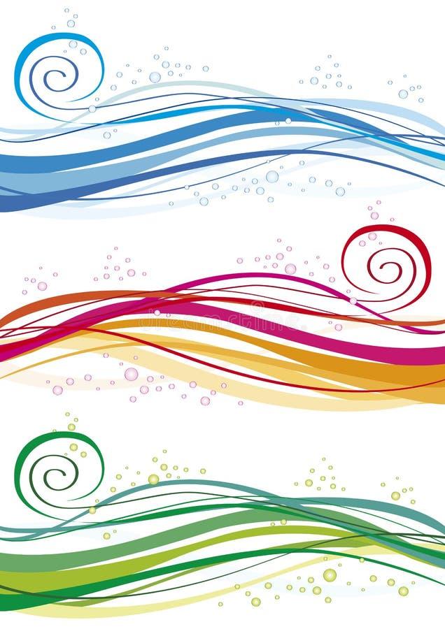 Gekleurde golven en bellen royalty-vrije illustratie