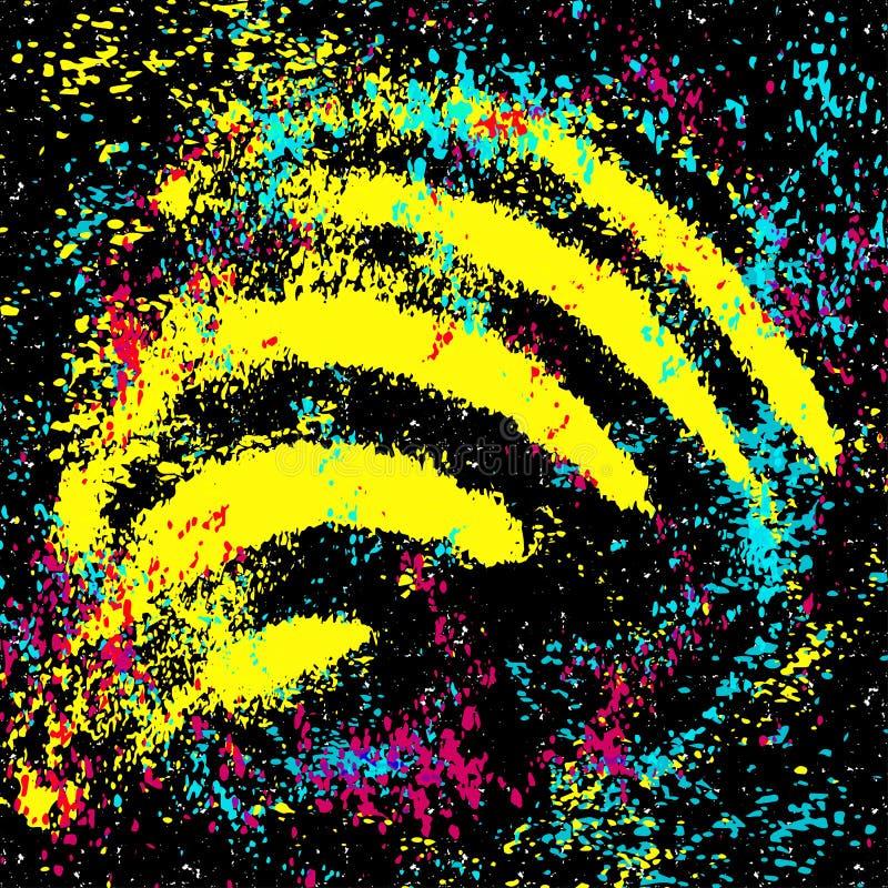 Gekleurde graffitivlekken op een zwarte grunge textuur als achtergrond royalty-vrije illustratie