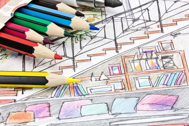 Gekleurde grafische schets van woonkamerbinnenland met kleur penc royalty-vrije illustratie