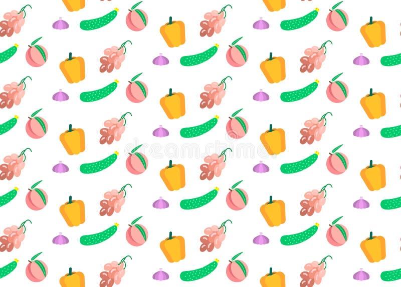 Gekleurde groenten en vruchten naadloze vlak horizontale het concepten witte achtergrond van het patroon vegetarische voedsel vector illustratie