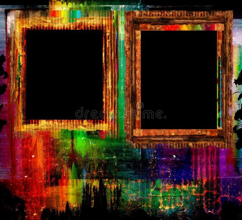 Gekleurde grunge kadersachtergrond stock afbeelding