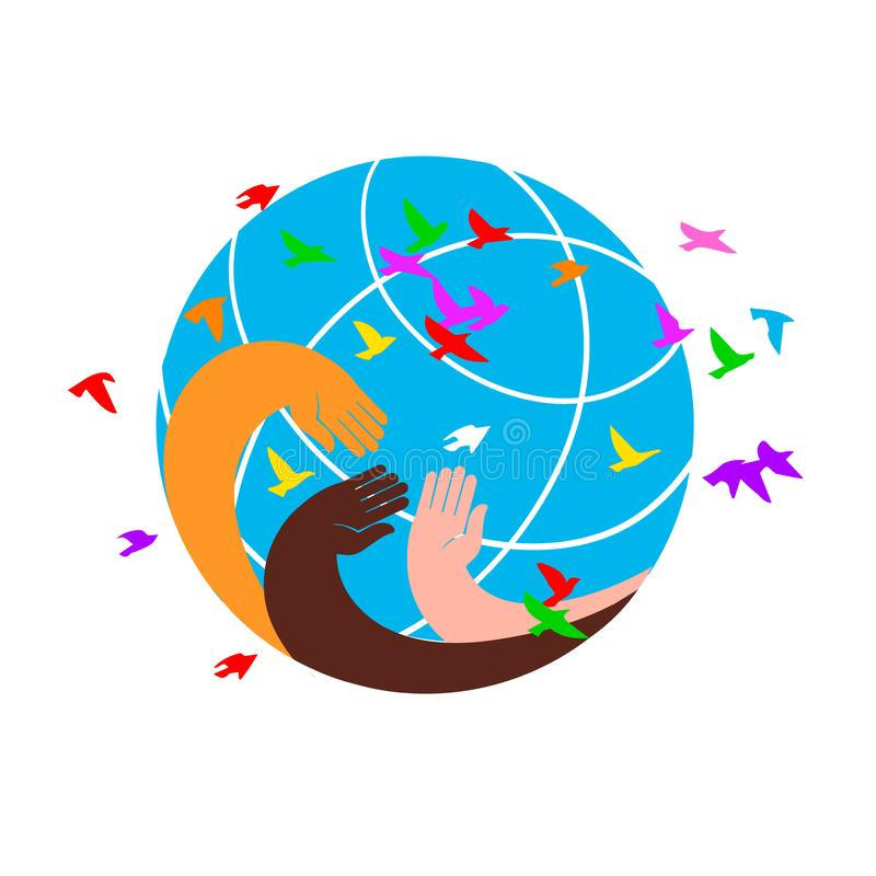 Gekleurde handen die de planeet koesteren Internationale Rechten van de mens vector illustratie