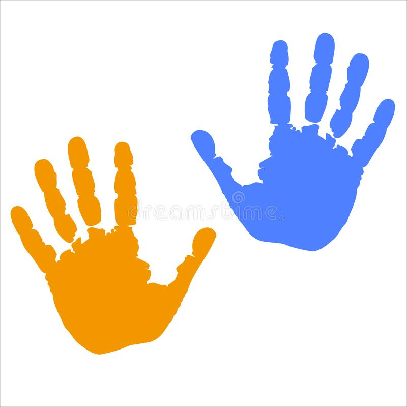 Gekleurde handendrukken stock illustratie