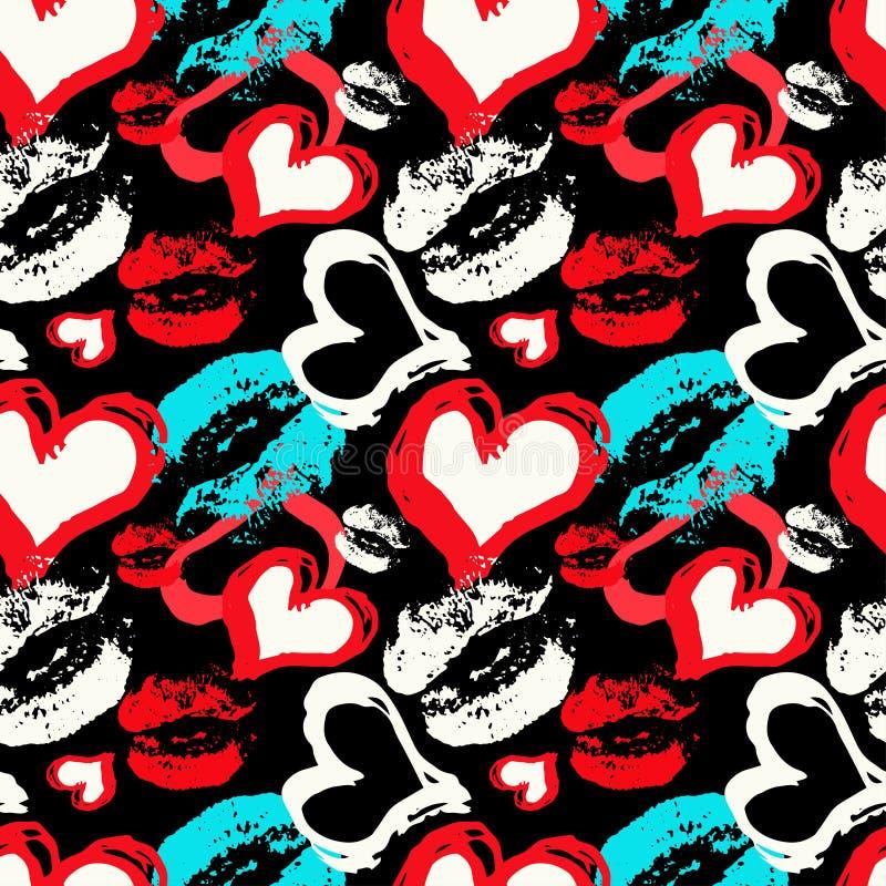 Gekleurde harten en lippen op een zwart naadloos patroon als achtergrond royalty-vrije illustratie