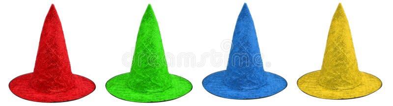 Gekleurde heksenhoeden royalty-vrije stock afbeeldingen