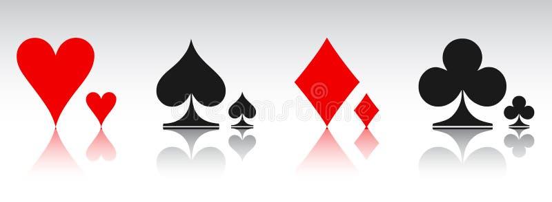 Gekleurde het pictogramvector van het kaartkostuum, speelkaartensymbolen - voor voorraad stock illustratie