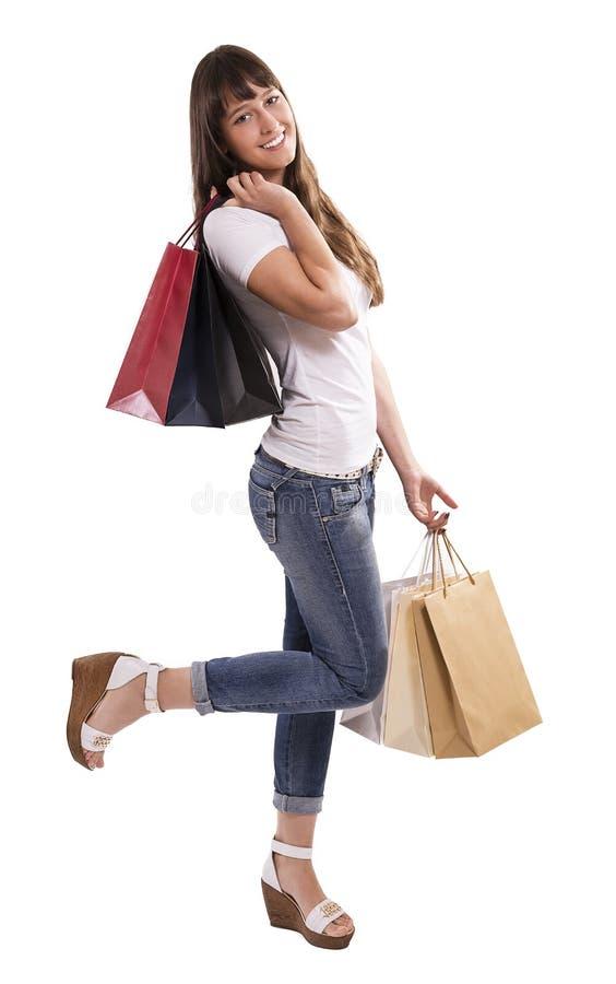 Gekleurde het winkelen zakken stock foto's