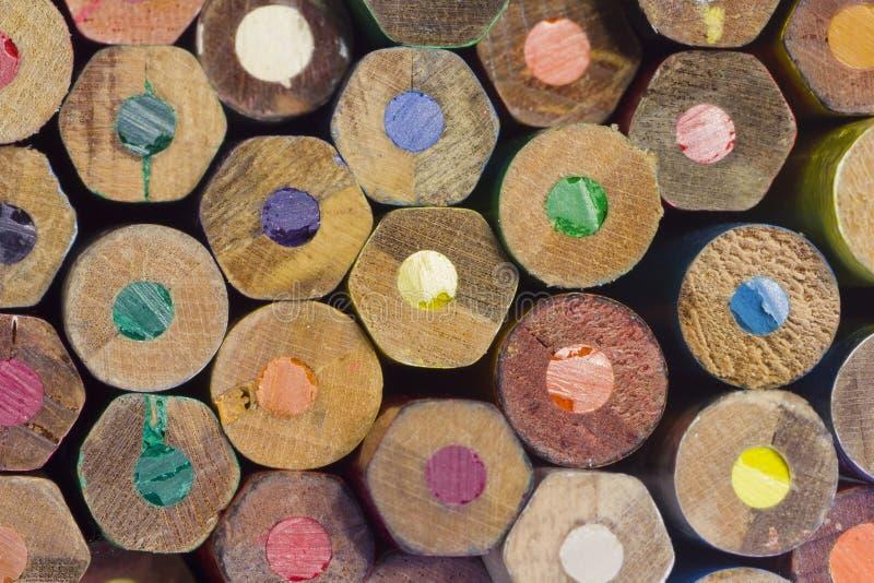 Gekleurde Houten Potloodeinden royalty-vrije stock foto