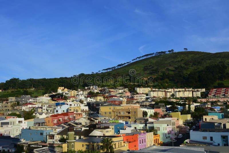 Gekleurde Huizen, BO-Kaap, Cape Town, Zuid-Afrika royalty-vrije stock afbeeldingen