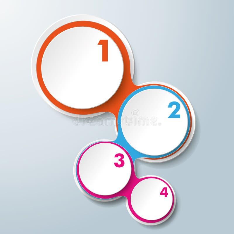Gekleurde Infographic het Ontwerp ketent Witte Cirkels 4 Opties vector illustratie