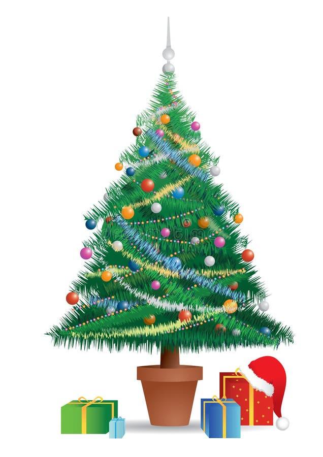 Gekleurde Kerstboom stock illustratie