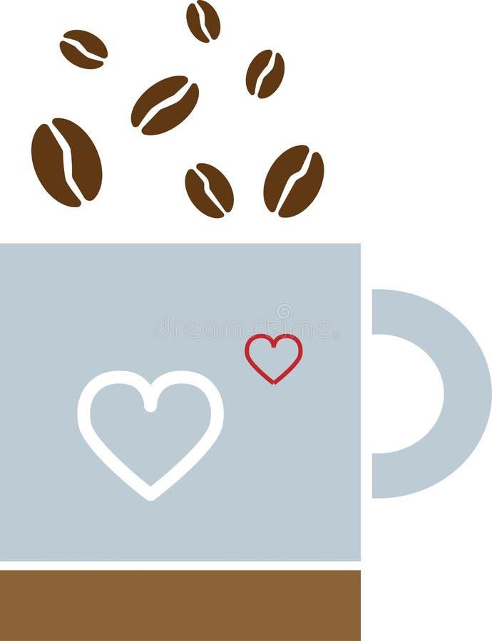 Gekleurde Koffiedalingen in een mok met een hart vector illustratie
