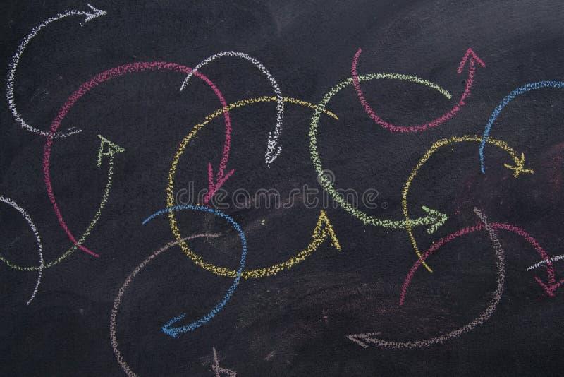 Gekleurde kromlijnige pijlen stock afbeelding