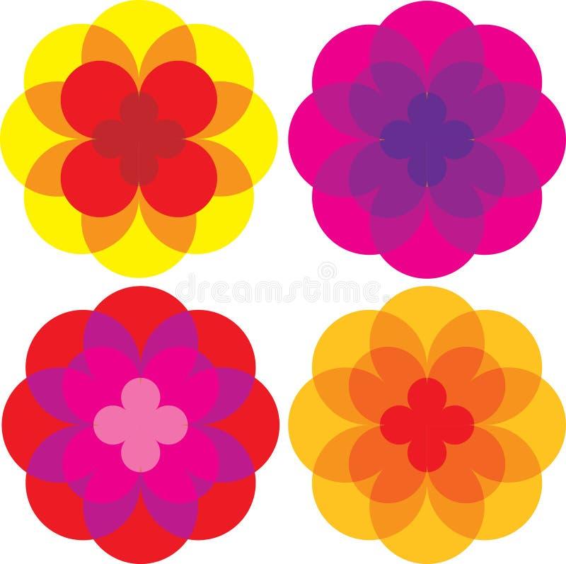 Gekleurde madeliefjebloemen royalty-vrije illustratie