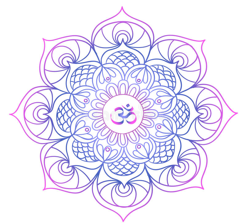 Gekleurde mandala - Boeddhisme - meditatie, ontspanning stock illustratie