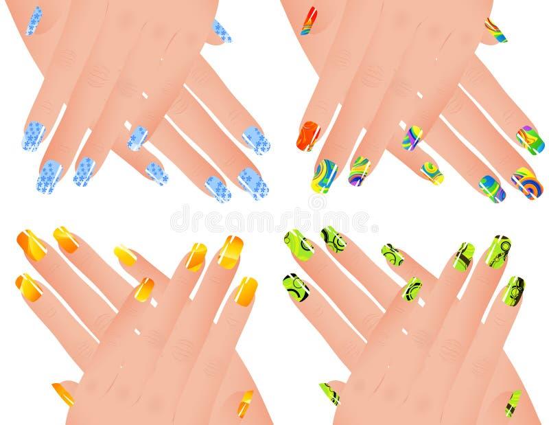 Gekleurde manicure stock illustratie