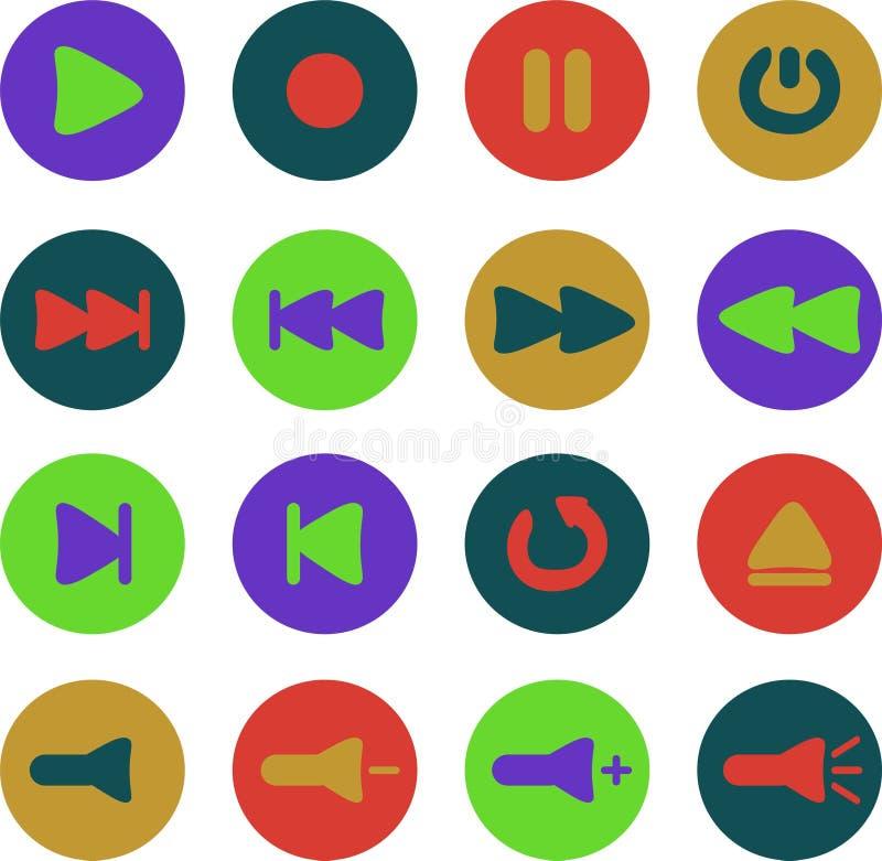 Gekleurde media Spelerpictogrammen stock afbeelding