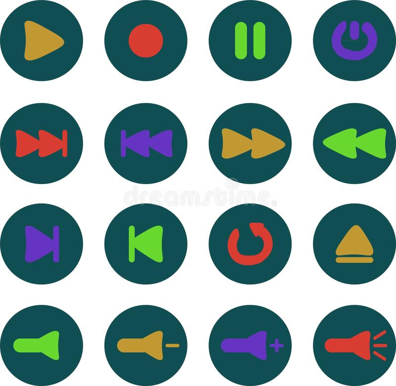 Gekleurde media Spelerpictogrammen royalty-vrije stock afbeeldingen