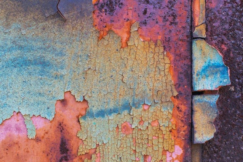 Gekleurde metaal geschilderde barstentextuur royalty-vrije stock afbeeldingen