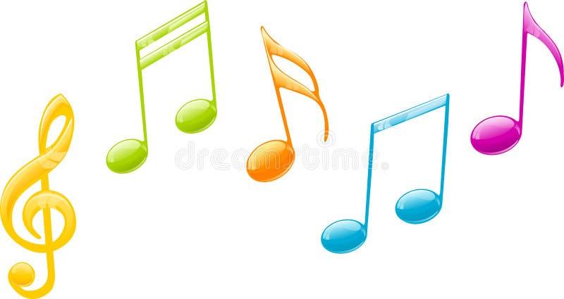 Gekleurde muzieknota's stock afbeelding