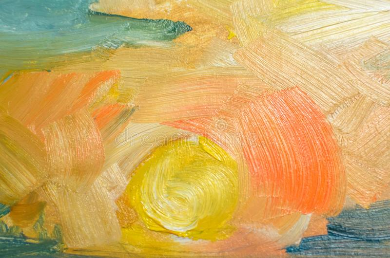 Gekleurde olieslagen op canvas met een borstel, abstracte lijnen stock afbeelding