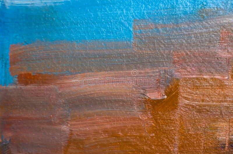 Gekleurde olieslagen op canvas met een borstel, abstracte lijnen royalty-vrije stock afbeeldingen