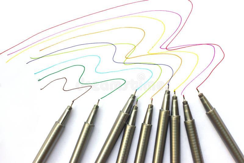 Gekleurde pennen. royalty-vrije stock afbeelding