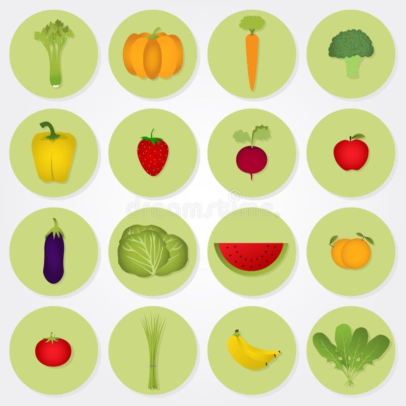 Gekleurde pictogrammen van groenten en vruchten stock illustratie