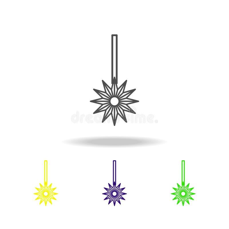 Gekleurde pictogrammen van ster de newyear Diwali viering op witte achtergrond Indische de Vakantieelementen van het Diwali Hindo vector illustratie