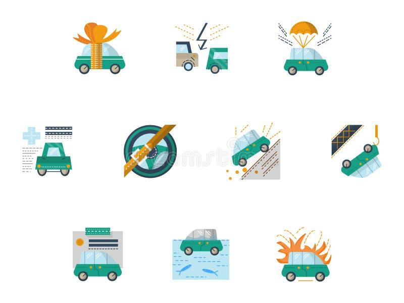 Gekleurde pictogrammen voor autoverzekering royalty-vrije illustratie