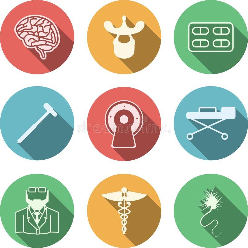 Gekleurde pictogrammen voor neurologie stock illustratie