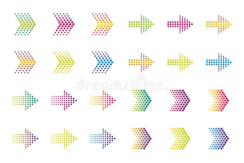 Gekleurde pijlelementen Halftone effect vector illustratie