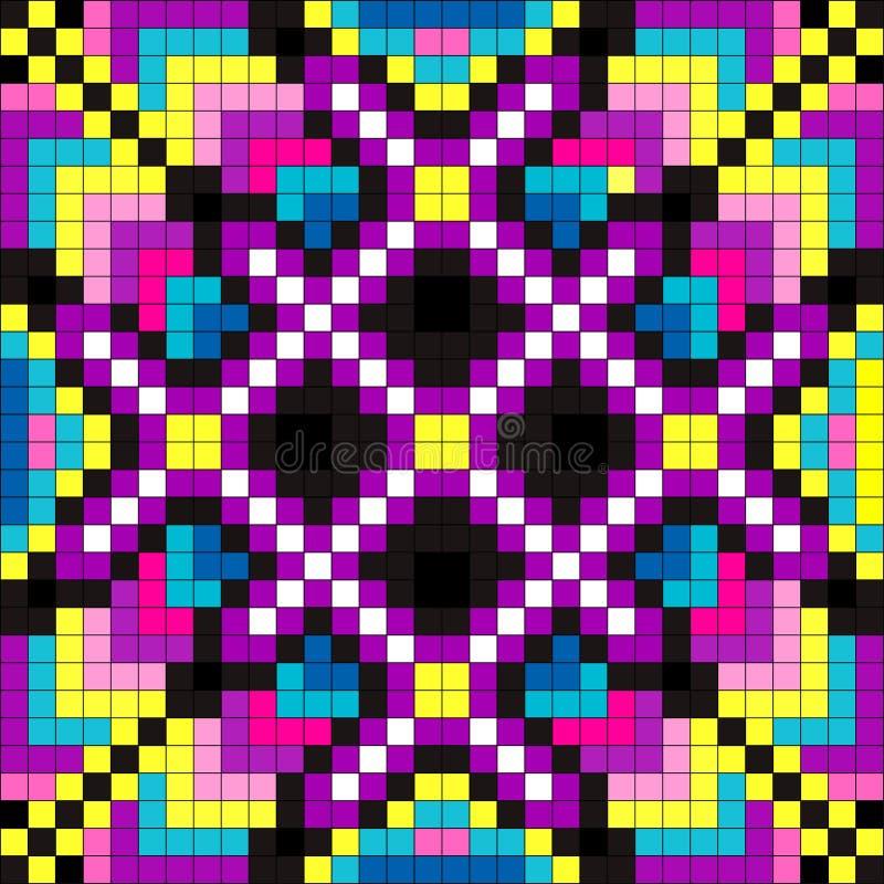 Gekleurde pixel psychedelische illustratie als achtergrond stock illustratie