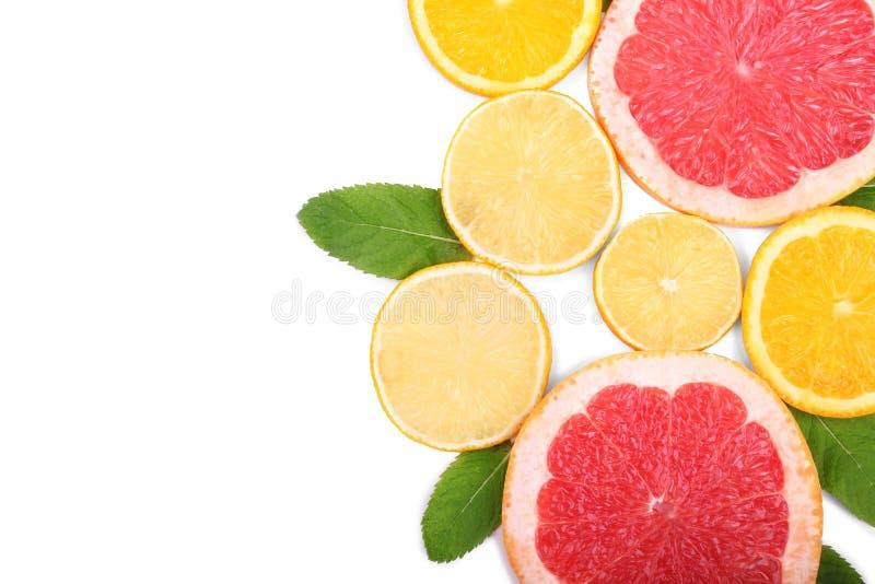 Gekleurde plakken van sappige oranje, rijpe citroen, en verse grapefruit met groene bladeren, die op een witte achtergrond worden stock afbeelding