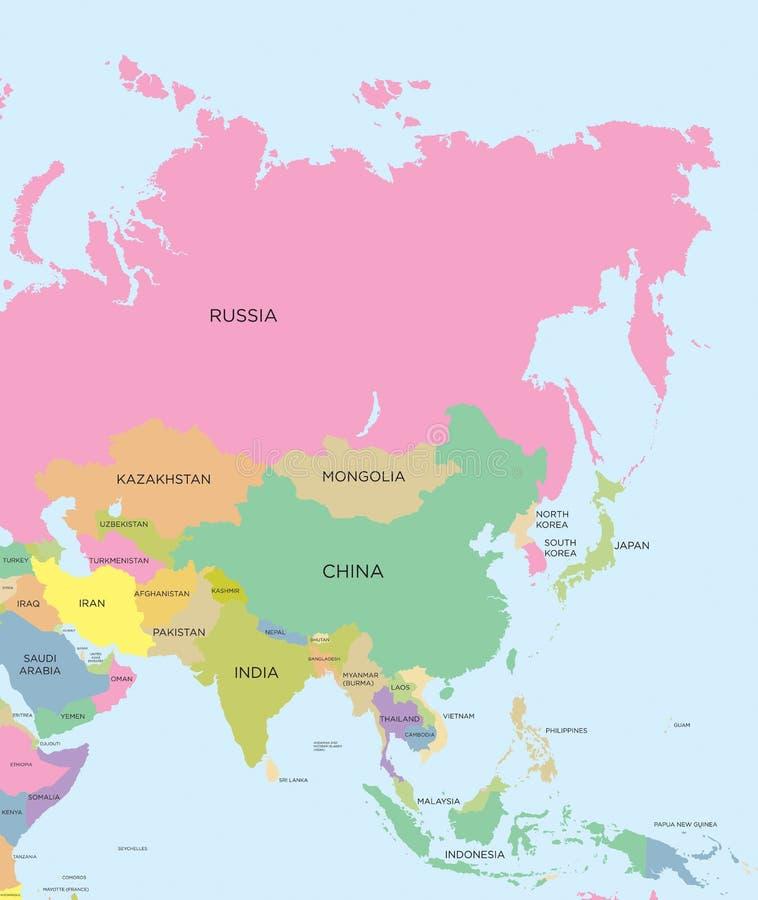 Gekleurde politieke kaart van Azië stock illustratie