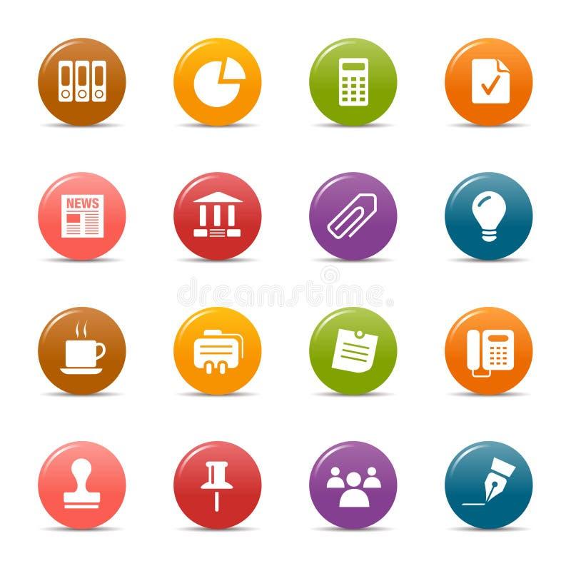 Gekleurde punten - de Bedrijfspictogrammen van het Bureau en royalty-vrije illustratie