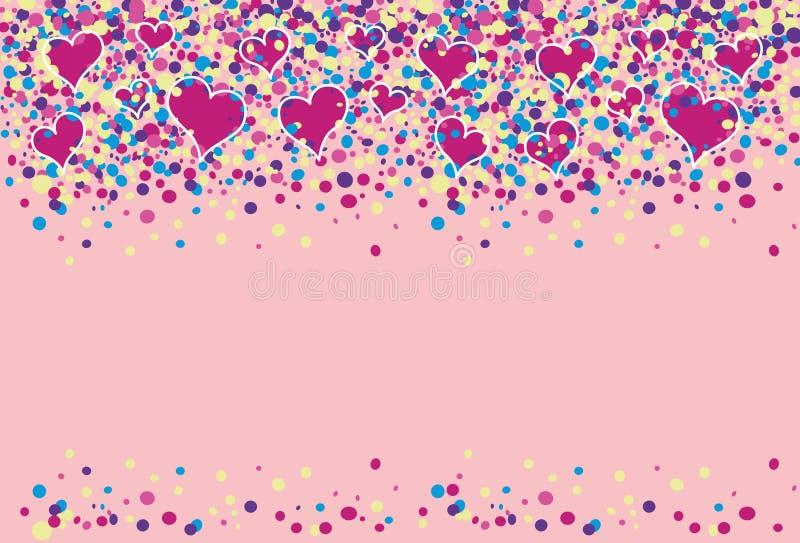Gekleurde punten met harten het vliegen vector illustratie