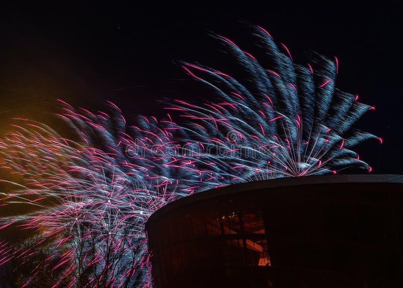 Gekleurde raketsalvo's royalty-vrije stock foto's