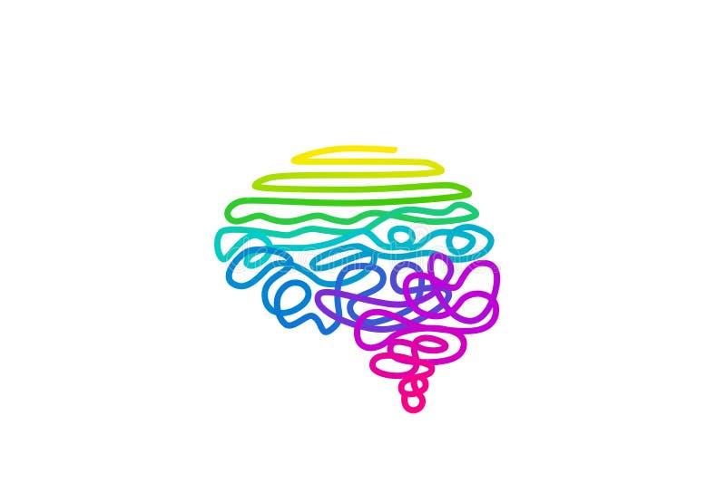 Gekleurde regenboog-gekleurde draad in de vectorillustratie van de hersenvorm stock illustratie