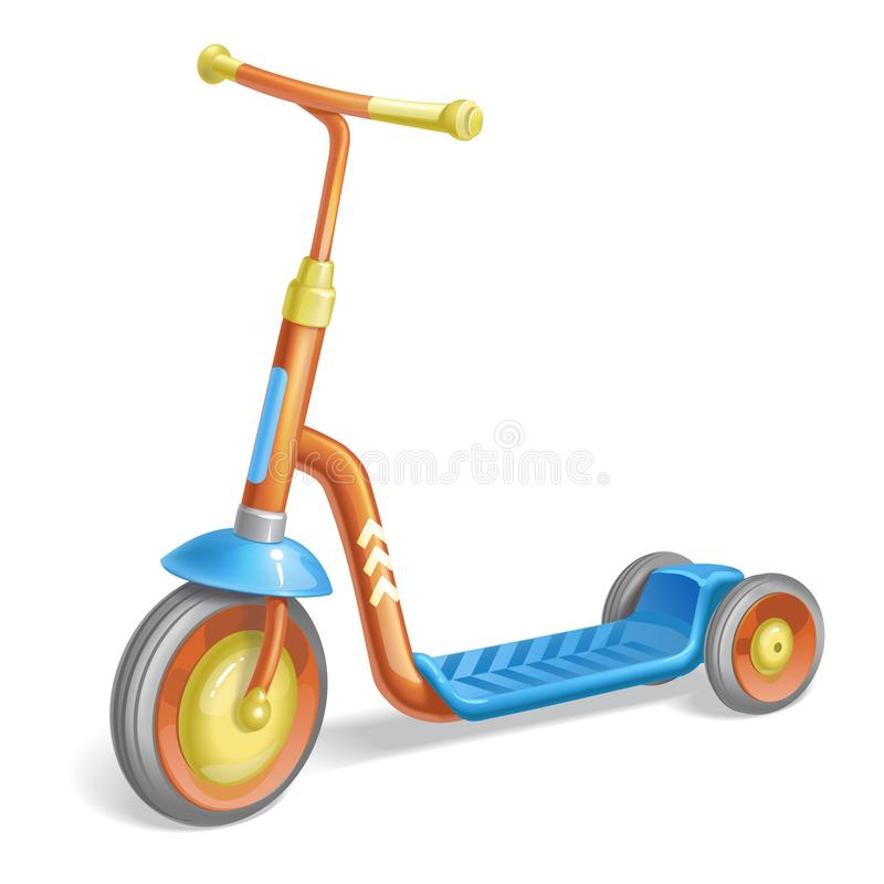 Gekleurde rolautoped voor kinderen Saldofiets Het vervoer van de Ecostad De vectorinzameling van de schopautoped Duwcyclus op whi royalty-vrije illustratie