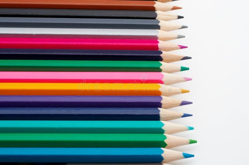 Gekleurde schoolpotloden royalty-vrije stock afbeelding
