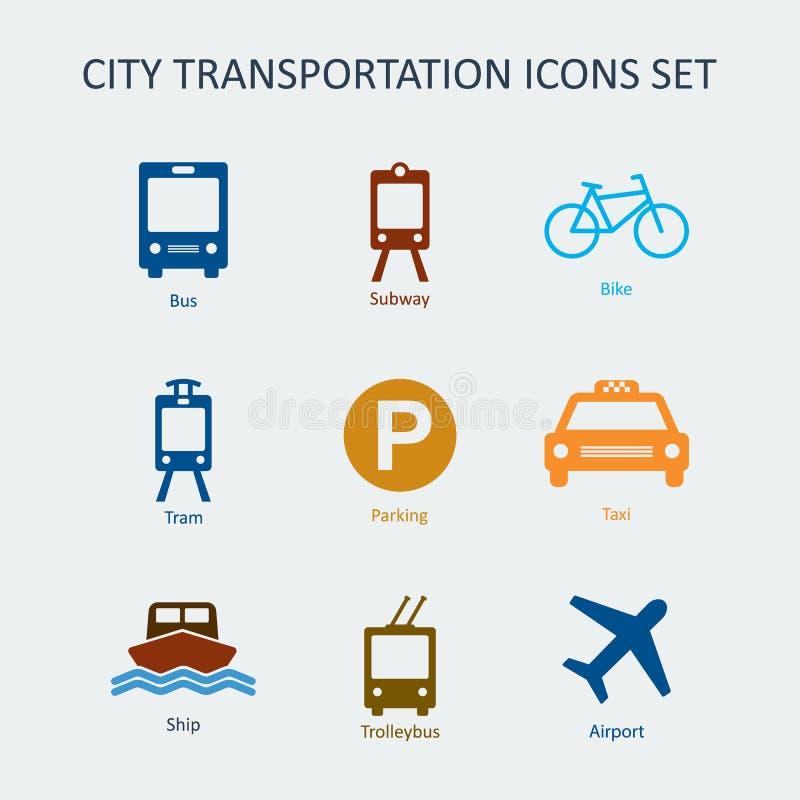 Gekleurde Stad en openbaar vervoer geplaatste pictogrammen royalty-vrije illustratie